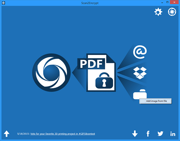 Scan to PDF, encrypt and upload to Dropbox