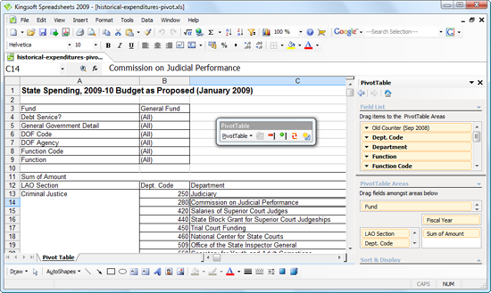 Kingsoft Spreadsheets with PivotTable