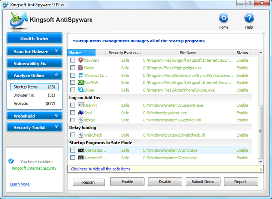 Kingsoft Antispyware 9 Plus