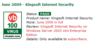 Kingsoft Internet Security VB100 June 2009