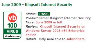 Kingsoft Internet Security VB100 June 2009