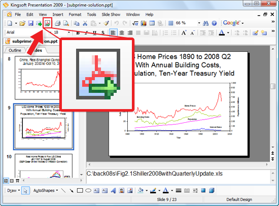 Kingsoft Presentation 2009 Export to PDF