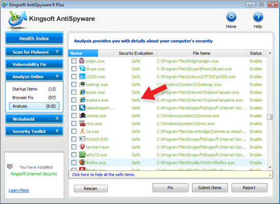Kingsoft AntiSpyware Analysis