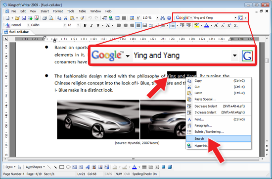Kingsoft Writer with integrated Google Search