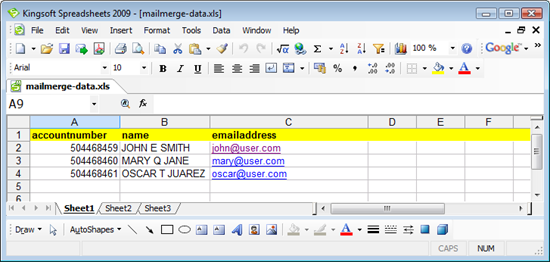 Kingsoft Spreadsheets Mail Merge XLS Datasource