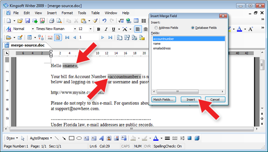 Kingsoft Writer Mail Merge Fields