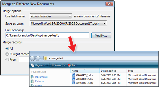 Kingsoft Writer Mail Merge to Different New Documents