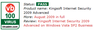 Kingsoft Internet Security VB100 August 2009