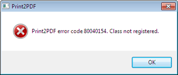 Error code 8004015 class not registered