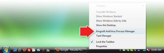 Running Kingsoft AntiVirus Process Supervisor from Windows Taskbar