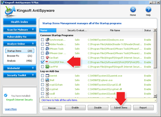 Kingsoft AntiSpyware Submit Items