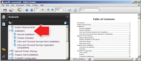 View PDF with bookmarks in Adobe Reader