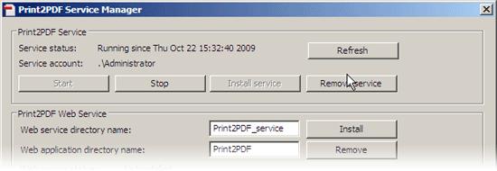 Print2PDF Service Manager