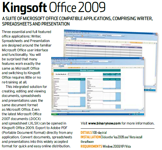 Kingsoft Office 2009 in PC Authority magazine December 2009