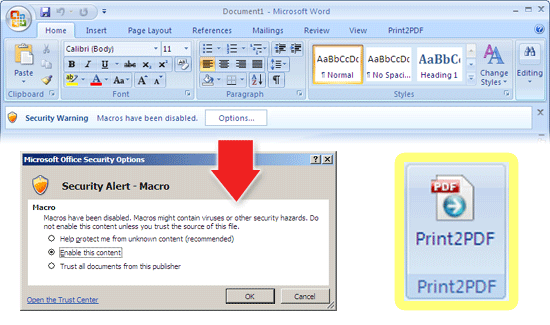 Microsoft Word 2007 enable Print2PDF macro