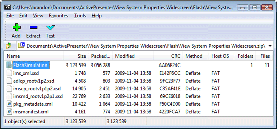 ActivePresenter SCORM package viewed in 7zip