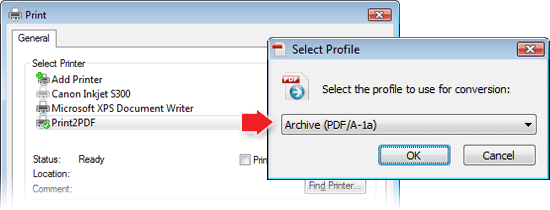 Print2PDF Save As dialog with Profile Only Enabled