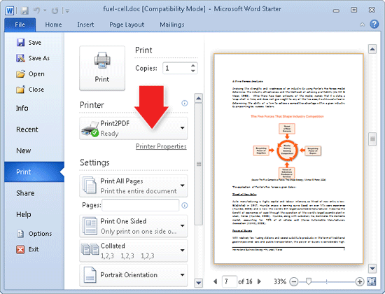 Microsoft Word Starter 2010 Printing to the Print2PDF printer