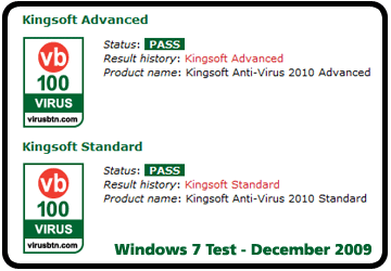 Kingsoft Internet Security VB100 Award - Windows 7 Test December 2009