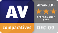 AV-Comparatives ADVANCED+ Award Performance Test December 2009