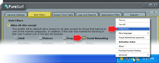 Configure the PureSurf Desktop web filter to block Social Networks