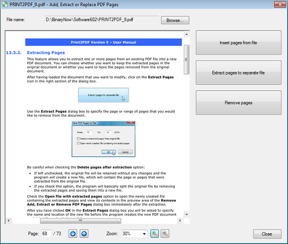 PDF manipulation with Print2PDF 9, splitting, merging