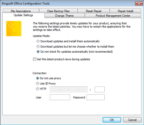 How to disable automatic online updates in Kingsoft Office