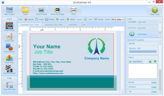 Create your own business cards in slimpublisher binarynow note print dialog will allow you to set number of copies and show bleeds and crop marks on the final print if desired you can define your own paper layout colourmoves
