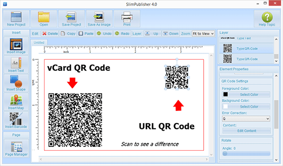 How to create a right size of qr code on your business card binarynow related articles use slimpublisher qr code colourmoves Images