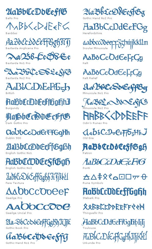 Elegant Mediaeval Fonts