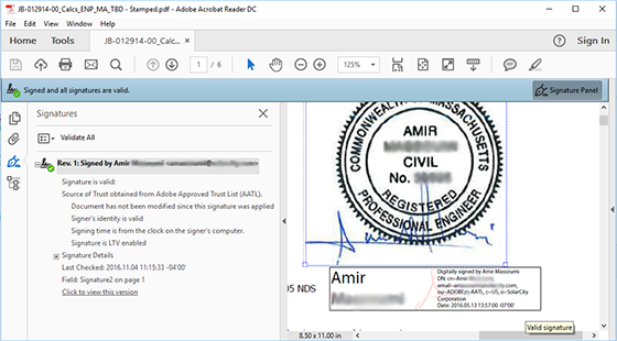 Add an electronic digital ID and signature stamp image to an