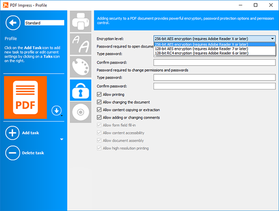PDF Impress 10 Security task