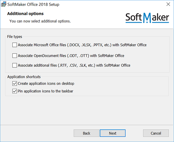 Change SoftMaker Office default file association and file formats to